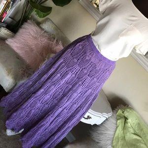 Lilac crocheted maxi skirt